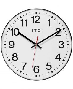 black wall clock 12 inch simple