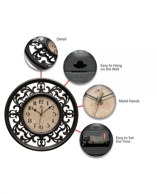 features of sofia brown wall clock 12 inch