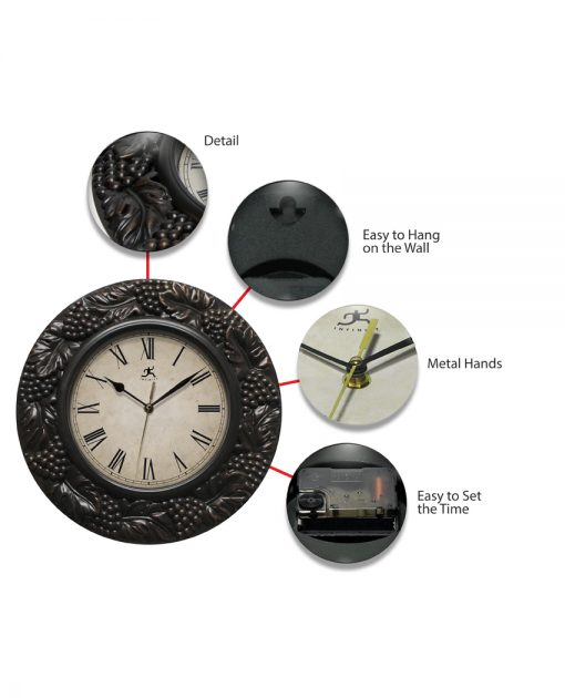 features of napa 13.5 inch wall clock pewter