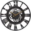 Black Roman Gear Large Wall Clock kitchen