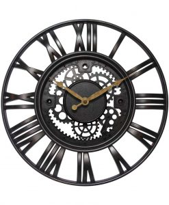 15 inch Roman Gear Rust Resin Wall Clock