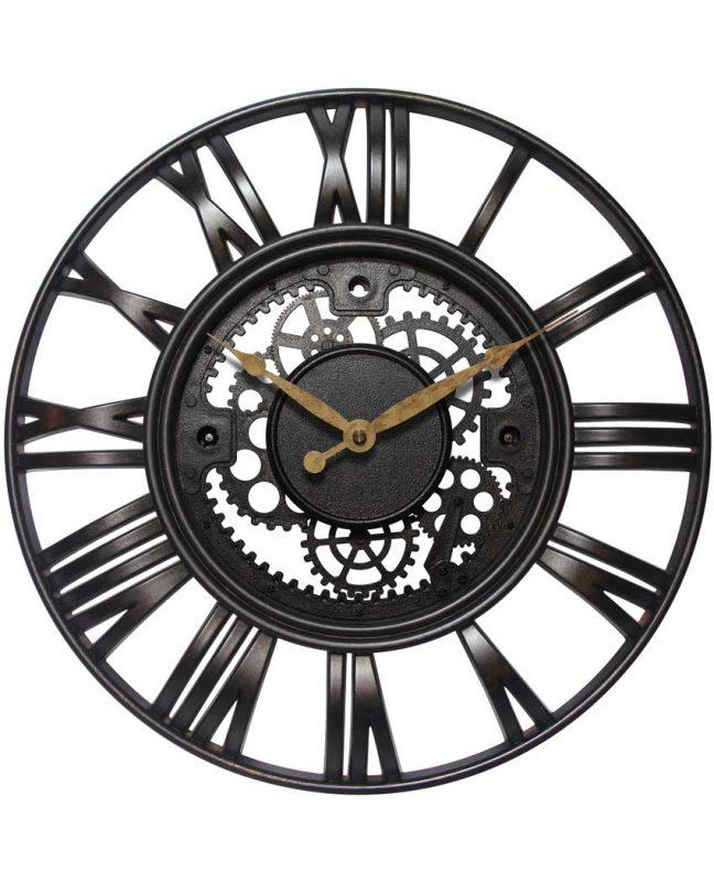 15 inch Roman Gear Rust Resin Wall Clock