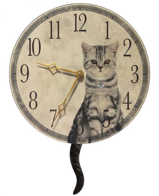 Large Cat Round Wall Clock with Tail kitchen