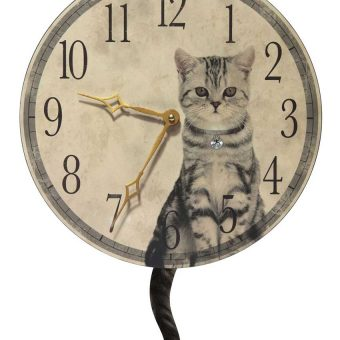 18.5 inch Purrfect; Timing Beige Wood Wall Clock