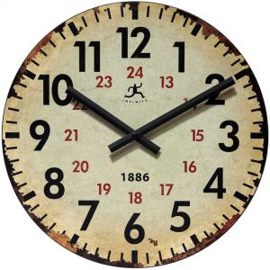 13.5 inch Vintage 1886; a Beige Wood Wall Clock