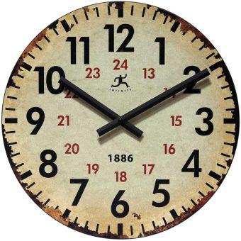 13.5 inch Vintage 1886; a Beige Wood Wall Clock