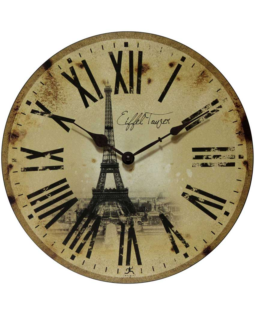 13.5 inch Eiffel Tower ; a Beige Wood Wall Clock