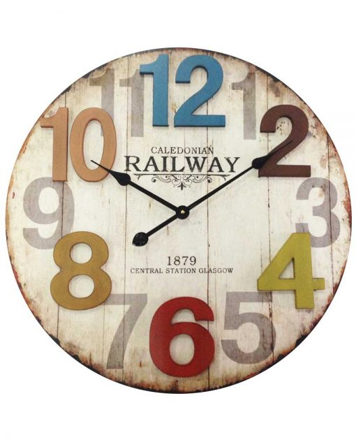 23.75 inch Weathered Multicolored Wood Wall Clock