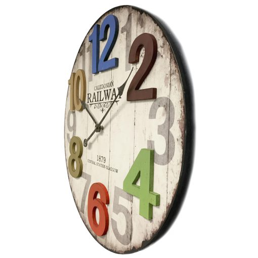 from left side multicolored wall clock 14 inch