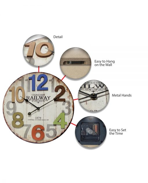 features of multicolored wall clock