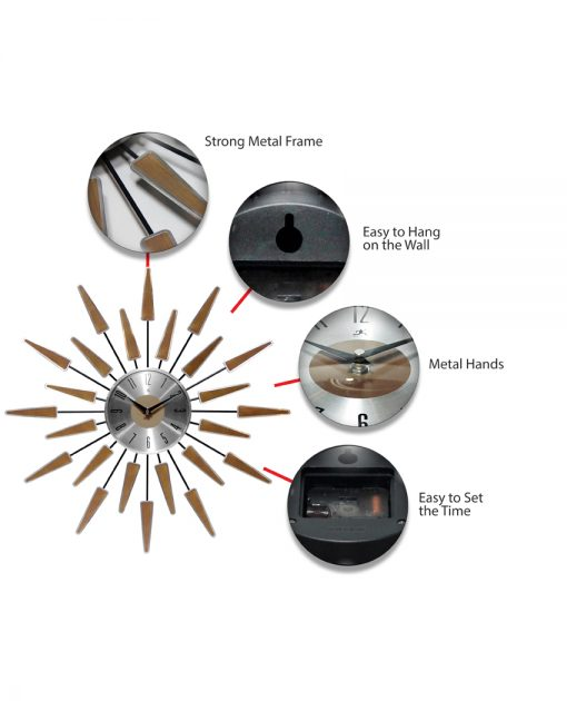 features of satellite walnut mid century modern wall clock