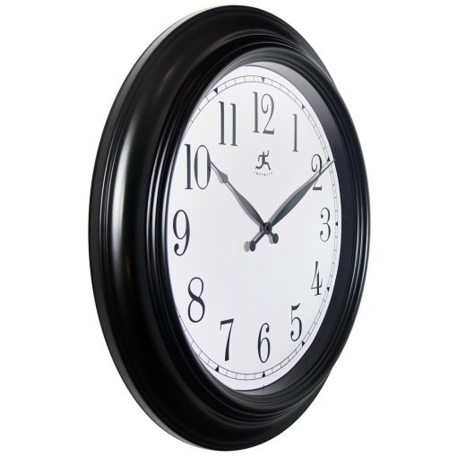classic black wall clock 24 inch from right side