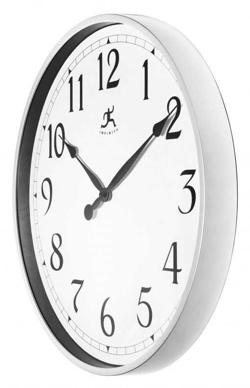 from left side silver office wall clock 18 inch