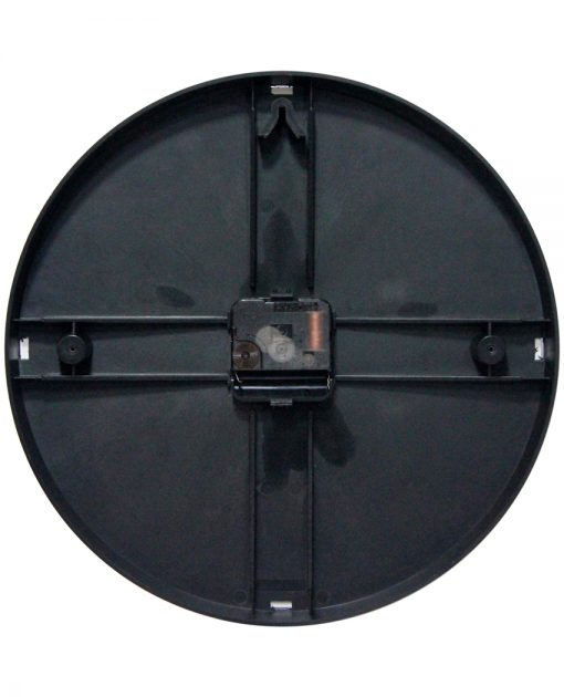 back of safety first black wall clock 12 inch for office