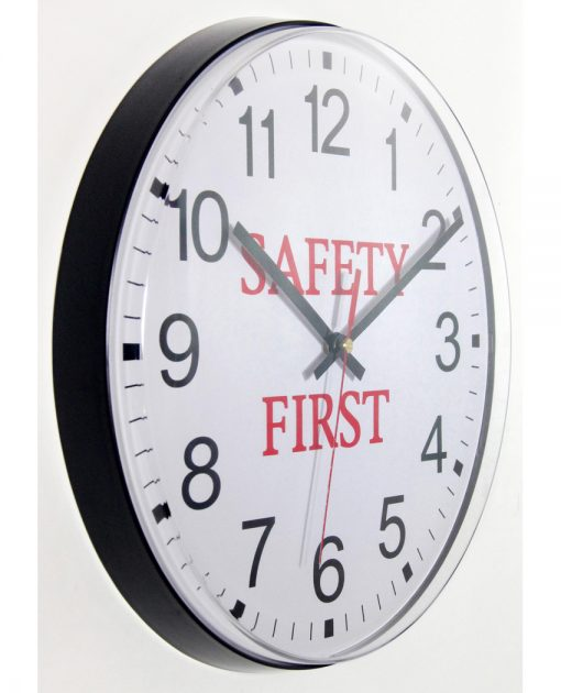safety first black wall clock from right side 12 inch