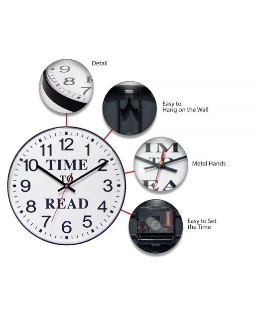 time to read wall clock features 12 inch metal hands easy to hang easy to read