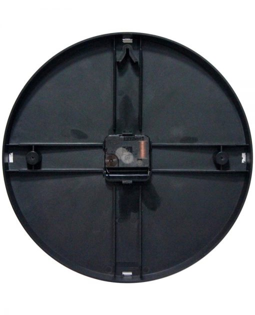 back of think safety black resin wall clock 12 inch