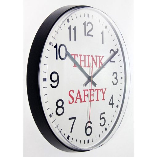 from right side think safety wall clock black resin 12 inch