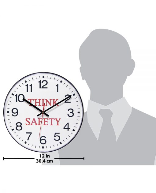 think safety wall clock 12 inch