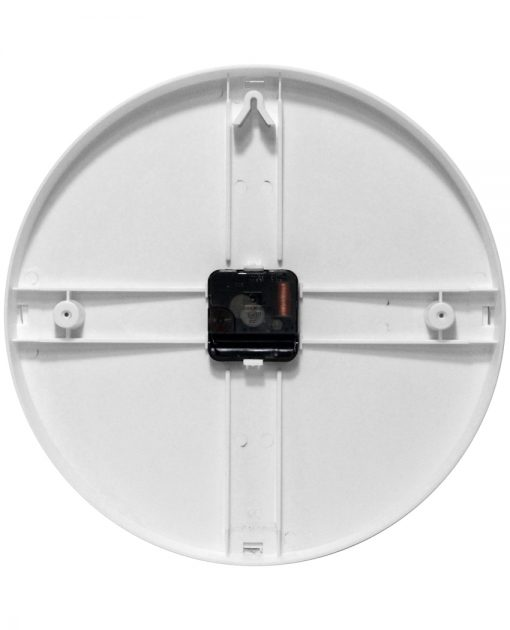 back of prosaic white wall clock 12 inch