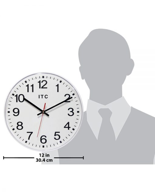 12 inch wall clock prosaic white