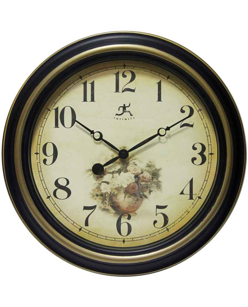 15.5 inch Procession Black & Gold Resin Wall Clock