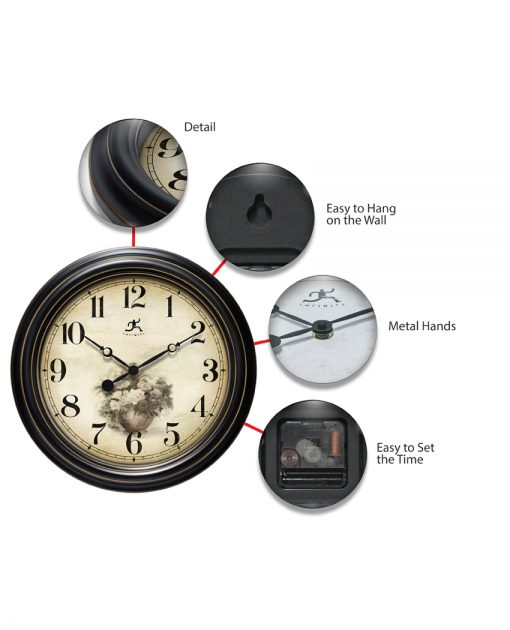 features of procession black gold wall clock 16 inch