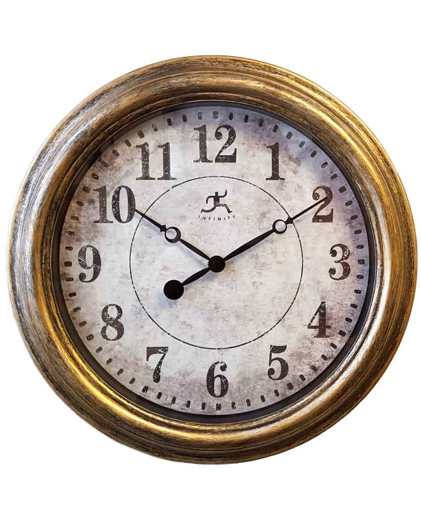 15.5 inch Aged Silver and Gold; Resin Wall Clock