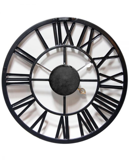 back of micro fusion black metal wall clock small