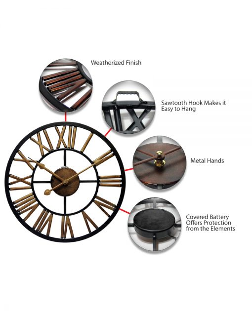 features of micro fusion metal wall clock 14 inch