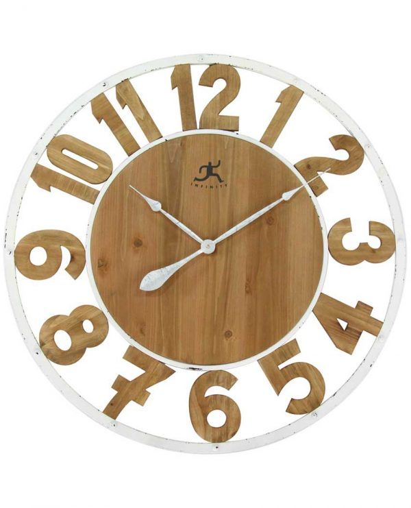 31.5 inch Natural Wood on White Wood Wall Clock
