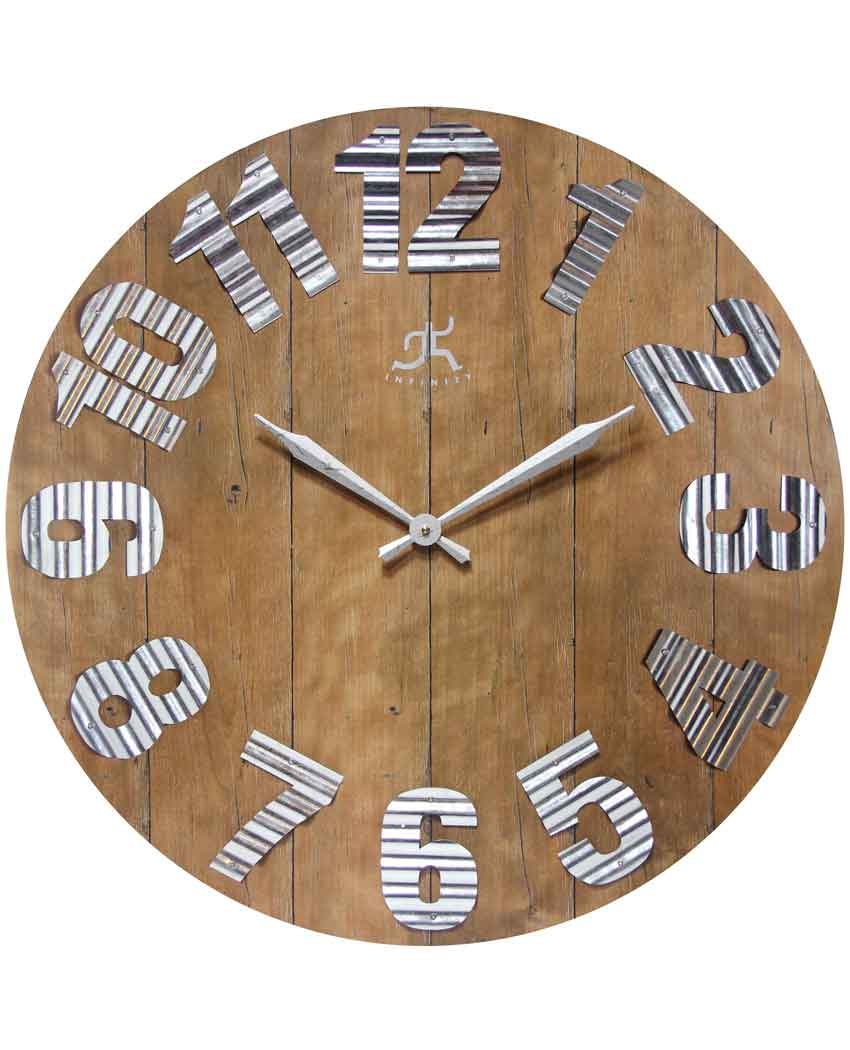 26.75 inch Colonial Brown Metal Wall Clock