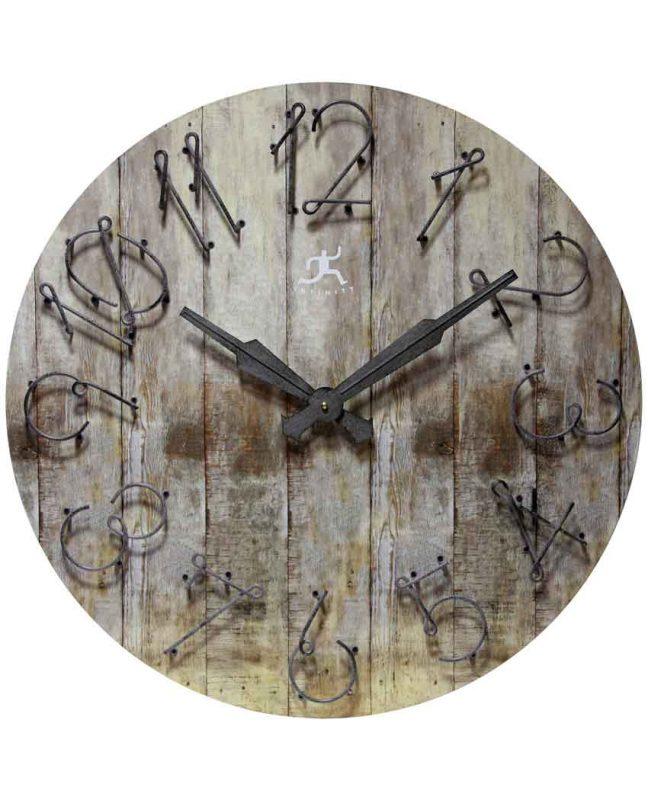 23.75 inch Wild West Grey Wood Metal Wall Clock