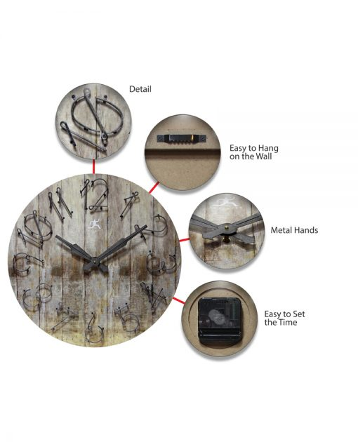 24 inch grey wild west wall clock