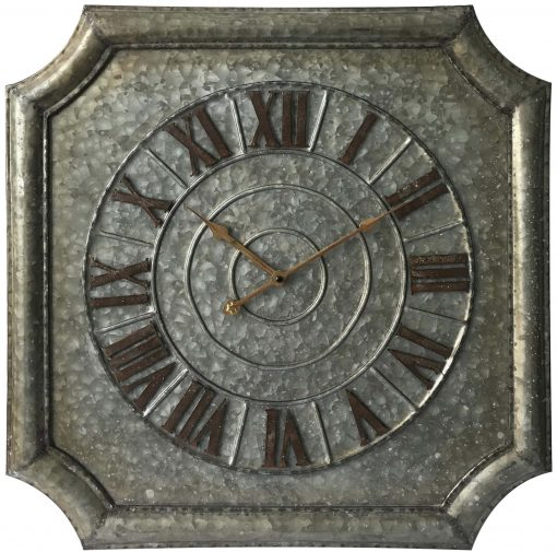 Stamped Metal Square Large Wall Clock kitchen