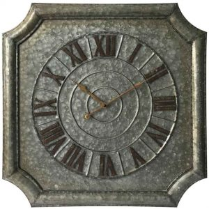22.75 inch Stamped Galvanised Metal Wall Clock