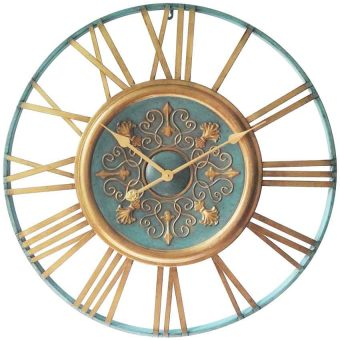 27.5 inch Parisian Gold Turqoise Metal Wall Clock