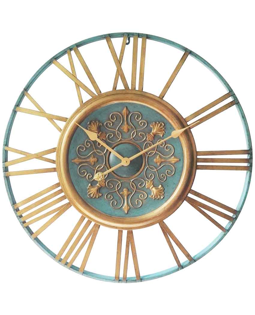 27.5 inch Parisian Gold Turqoise Metal Wall Clock