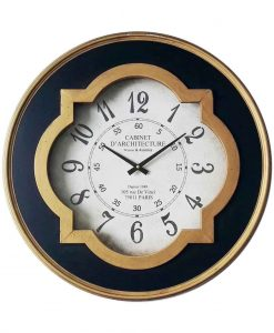 23.75 inch Quatrefoil Metal and Wood Wall Clock