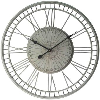 27.5 inch Country Lace; a Grey Metal Wall Clock