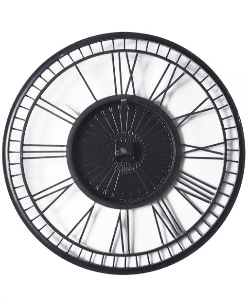 back of country lace grey metal wall clock