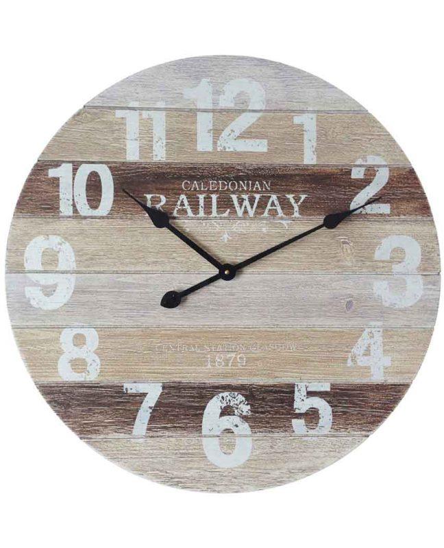 23.75 inch Antique Railway; White Wood Wall Clock
