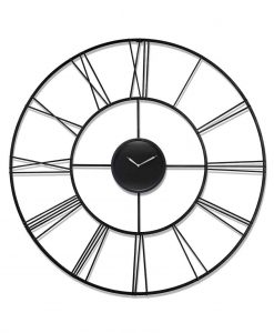 45.25 inch Modern Tower; a Black Steel Wall Clock