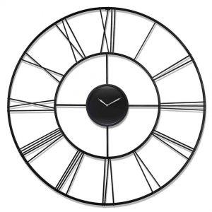 45.25 inch Modern Tower; a Black Steel Wall Clock