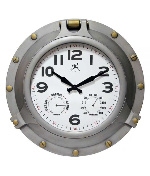 18 inch Porthole Antique Silver Resin Wall Clock