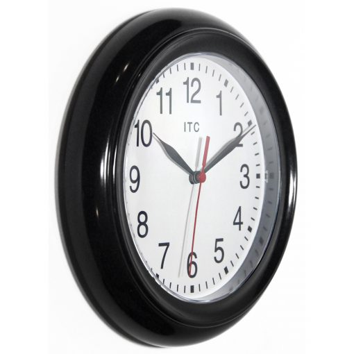 from right side focus black resin wall clock 9 inch