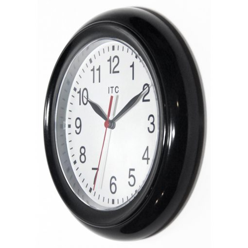 from left side focus black resin wall clock small basic 9 inch