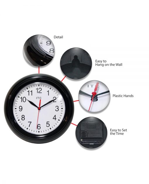 features of focus black resin wall clock 9 inch