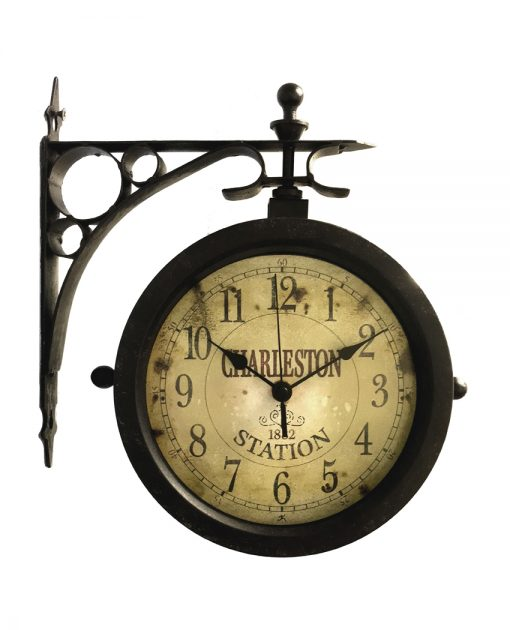 charleston black steel wall clock 12 inch