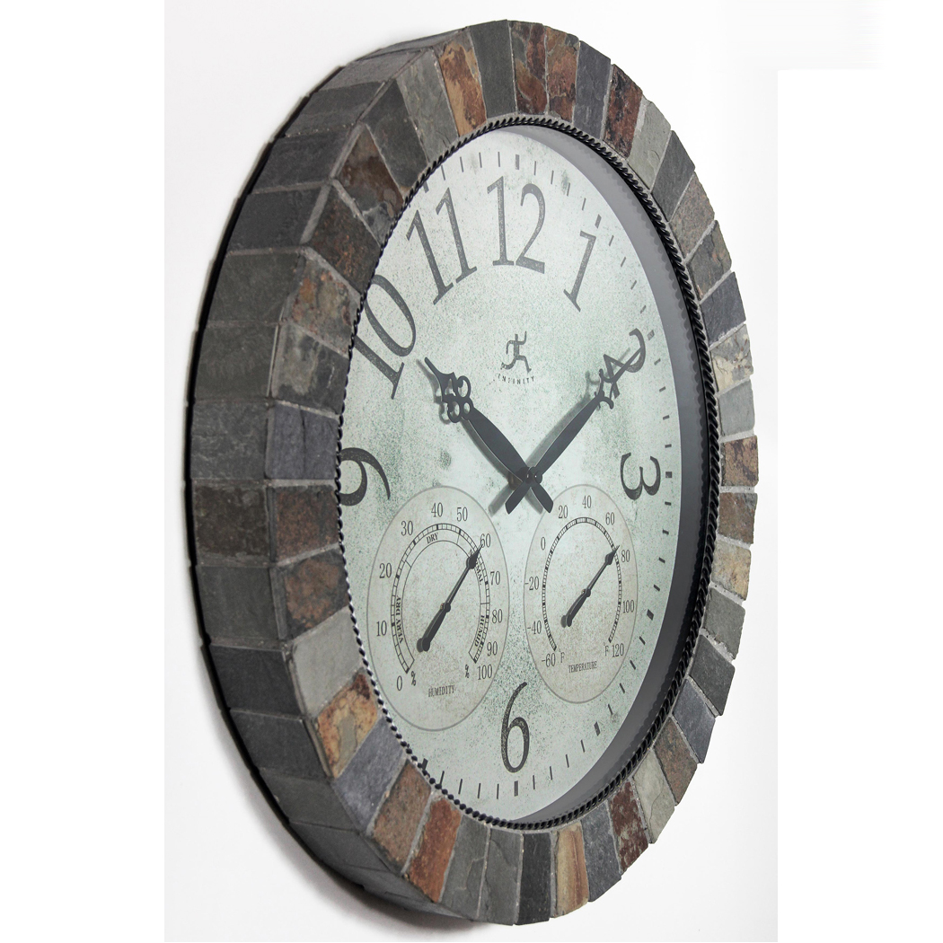 18 Inch The Inca Brown Slate Wall Clock Clock By Room